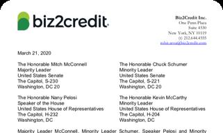 Biz2Credit Letter to Congressional Leadership