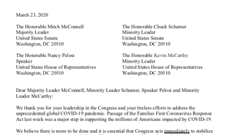 Small Business Fintech Providers Letter to Congress